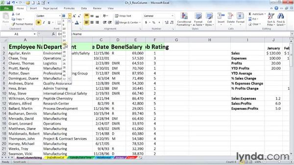Adjusting single and multiple row heights and column widths without commands: Excel 2010: Advanced Formatting Techniques