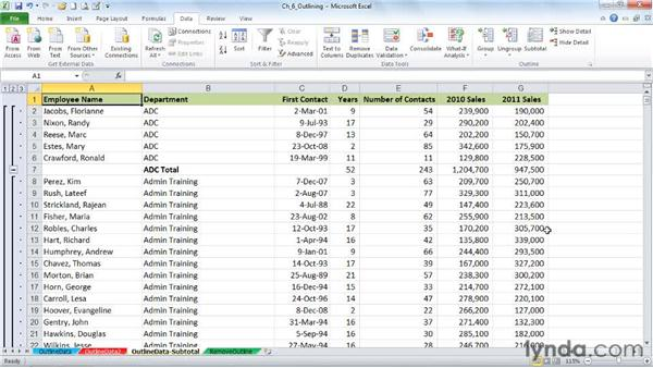 Setting up data for outlining: Excel 2010: Advanced Formatting Techniques