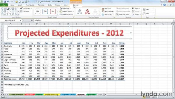 Learning the WordArt essentials for titles and headings: Excel 2010: Advanced Formatting Techniques