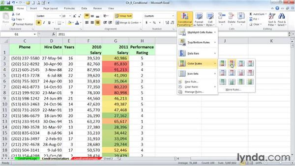 Creating value-based formatting using data bars and color scales : Excel 2010: Advanced Formatting Techniques