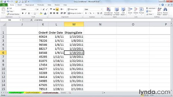 Creating formats based on formulas: Excel 2010: Advanced Formatting Techniques