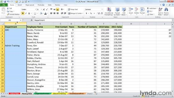 Restoring missing title data in a column: Excel 2010: Advanced Formatting Techniques