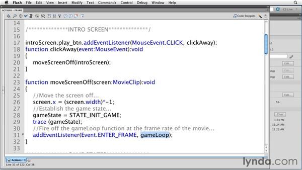 Reviewing the game structure: Flash Professional CS5: Creating a Simple Game for Android Devices