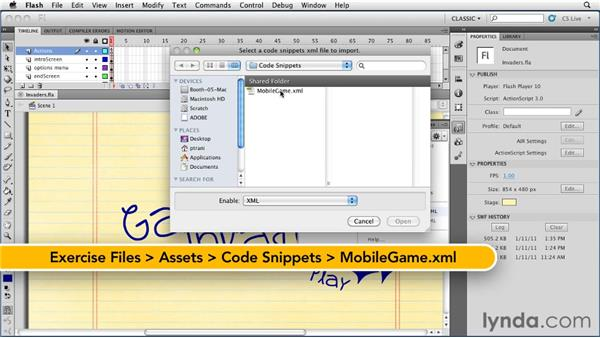 Adding code snippets: Flash Professional CS5: Creating a Simple Game for Android Devices