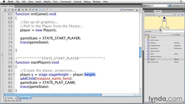 Moving the player: Flash Professional CS5: Creating a Simple Game for Android Devices