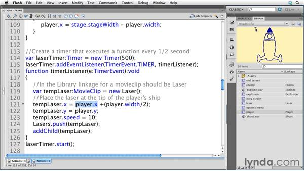 Adding lasers: Flash Professional CS5: Creating a Simple Game for Android Devices