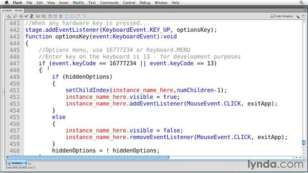 Using hardware keys: Flash Professional CS5: Creating a Simple Game for Android Devices