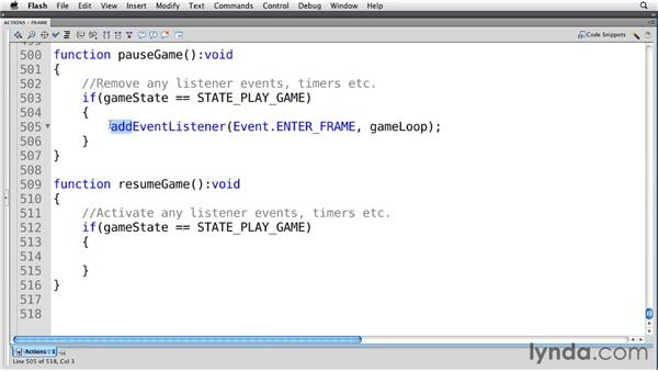 Handling activation and deactivation: Flash Professional CS5: Creating a Simple Game for Android Devices