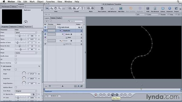 Building transitions with the Replicator: Motion: Principles of Motion Graphics