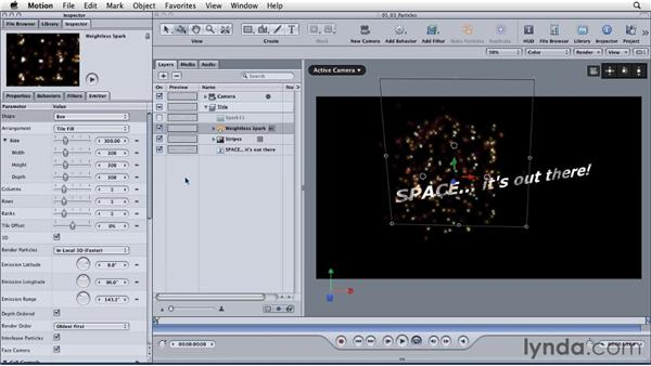 Working with particles to create depth: Motion: Principles of Motion Graphics