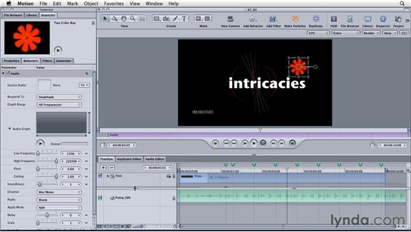 Using audio to drive animation: Motion: Principles of Motion Graphics
