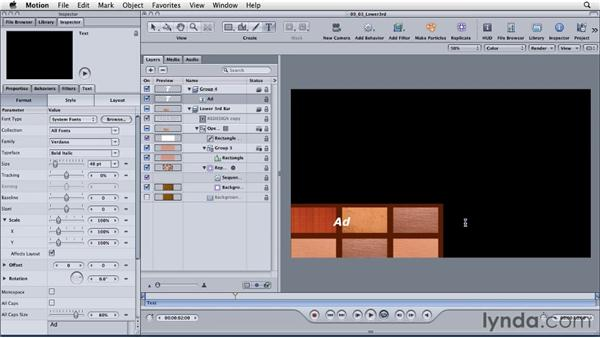 Animating a lower-third graphic: Motion: Principles of Motion Graphics