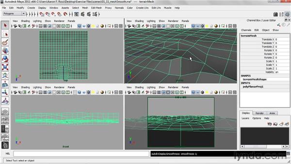 Using Mesh Smooth with the Maya software renderer: Creating Natural Environments in Maya