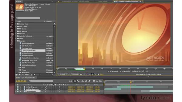 Pre-trimming and inserting layers from the Footage panel: After Effects Apprentice 04: Layer Control
