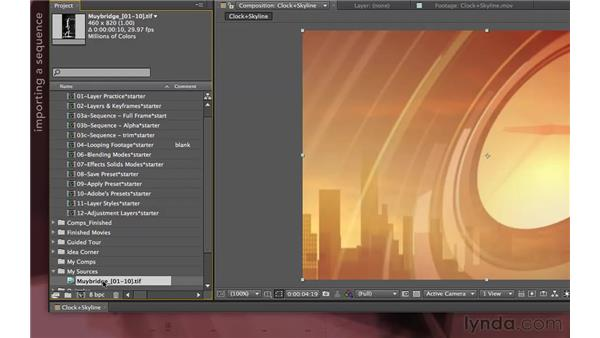 Importing a sequence of still images: After Effects Apprentice 04: Layer Control