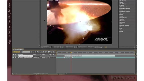 Quizzler solution one: Pyrotechnic composite: After Effects Apprentice 04: Layer Control