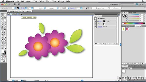 Using Isolation mode to preserve group structure: Illustrator Insider Training: Rethinking the Essentials