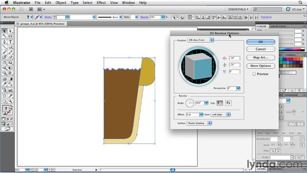 Adding a 3D effect to a group: Illustrator Insider Training: Rethinking the Essentials