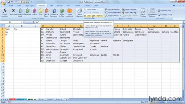 Creating multitiered lists: Excel 2007: Data Validation in Depth