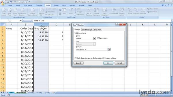 Limiting time entries with formulas: Excel 2007: Data Validation in Depth