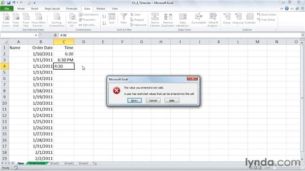 Limiting time entries with basic controls: Excel 2010: Data Validation in Depth