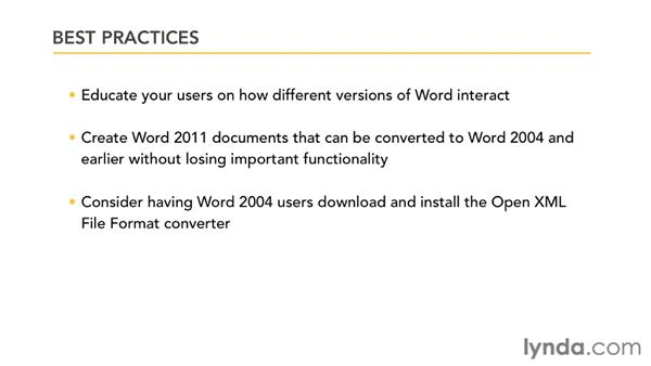 Best practices for managing files in a mixed environment: Migrating from Word 2008 for Mac to Word 2011