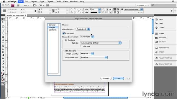 Choosing EPUB export options for images: InDesign CS4 to EPUB, Kindle, and iPad
