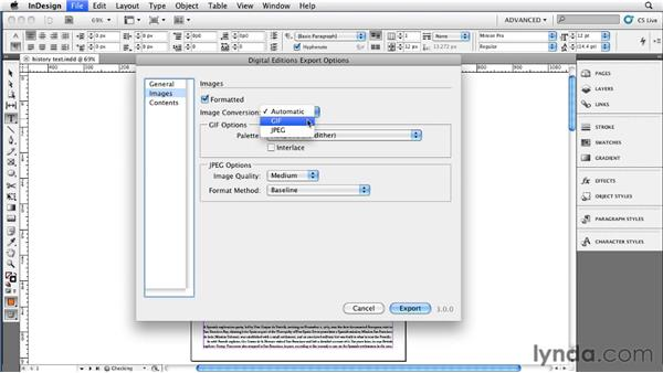 Choosing EPUB export options for images: InDesign CS5 to EPUB, Kindle, and iPad