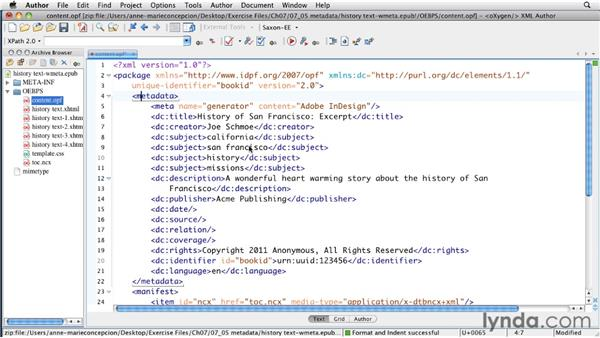 Adding and editing metadata: InDesign CS5 to EPUB, Kindle, and iPad
