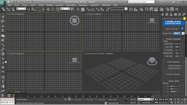 Accessing the Reactor commands and controls: Getting Started with Reactor in 3ds Max