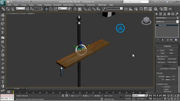 Using constraints to limit object movement: Getting Started with Reactor in 3ds Max