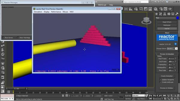 Previewing a simulation: Getting Started with Reactor in 3ds Max