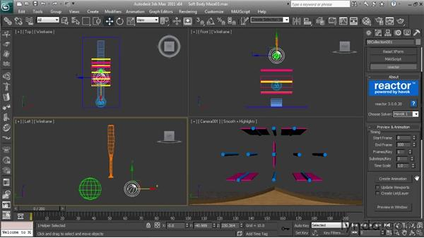 Making the final adjustments and creating the keyframes: Getting Started with Reactor in 3ds Max