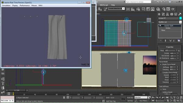 Making adjustments to the curtain cloth modifiers: Getting Started with Reactor in 3ds Max