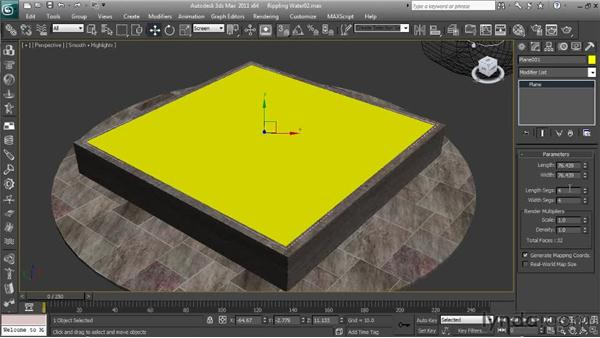 Adjusting the water parameters and creating the keys: Getting Started with Reactor in 3ds Max