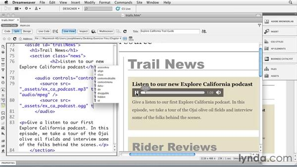 Welcome: Dreamweaver CS5: Getting Started with HTML5