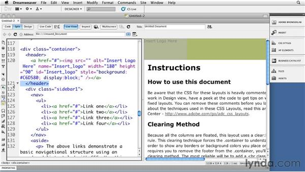 Understanding HTML5 templates: Dreamweaver CS5: Getting Started with HTML5