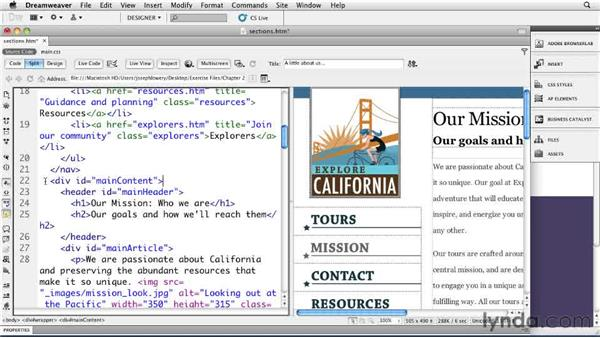 Adding sections: Dreamweaver CS5: Getting Started with HTML5
