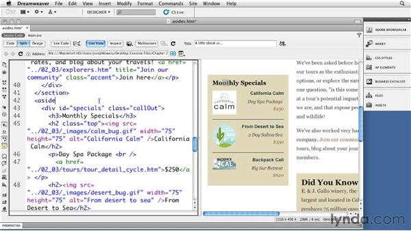 Making an aside: Dreamweaver CS5: Getting Started with HTML5