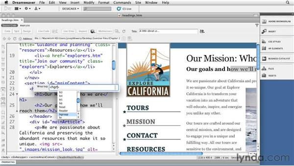 Using heading groups: Dreamweaver CS5: Getting Started with HTML5