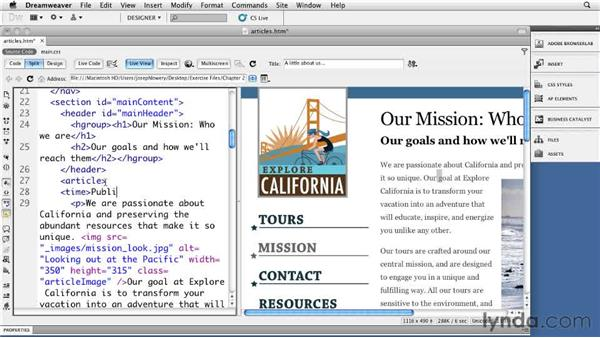 Framing articles: Dreamweaver CS5: Getting Started with HTML5