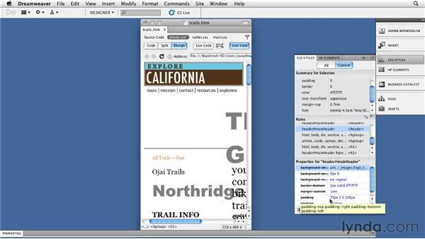 Optimizing smartphone layouts: Dreamweaver CS5: Getting Started with HTML5