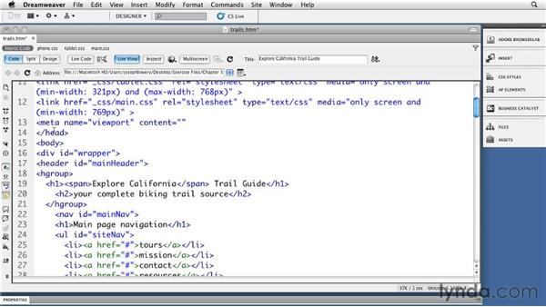 Handling the iOS viewports: Dreamweaver CS5: Getting Started with HTML5