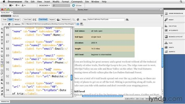 Inserting new input types: Dreamweaver CS5: Getting Started with HTML5