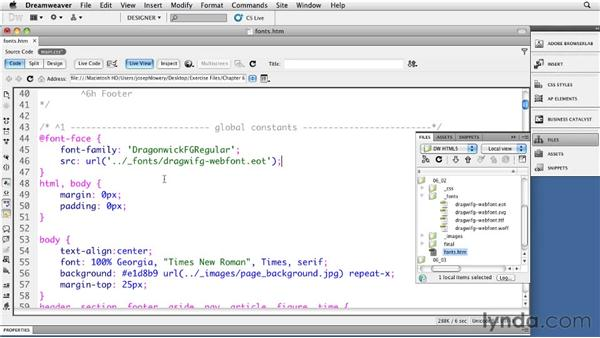 Declaring @font-face families: Dreamweaver CS5: Getting Started with HTML5