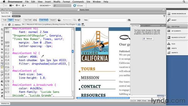 Implementing CSS3 type effects: Dreamweaver CS5: Getting Started with HTML5