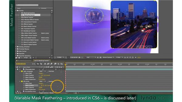 Working with mask parameters: After Effects Apprentice 05: Creating Transparency