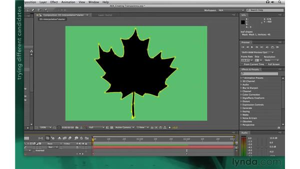 Setting the first vertex point: After Effects Apprentice 05: Creating Transparency