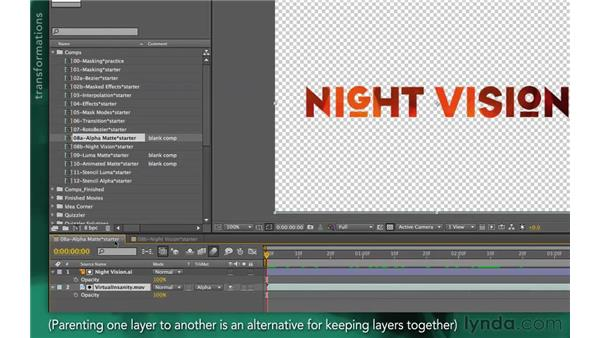 Grouping track matte pairs: After Effects Apprentice 05: Creating Transparency