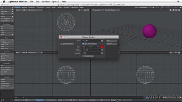 Creating surfaces for polygons: LightWave 10 Essential Training